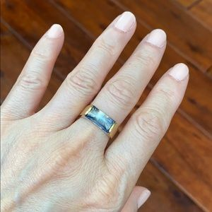 14K Real Yellow gold Blue Rectangle Ring Size 6